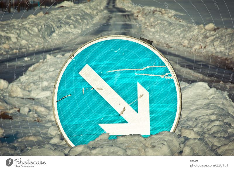 Blue Winter Street Snow Lanes & trails Signage Target Illuminate Arrow Direction Clue Crossroads In transit Right Decide Road sign