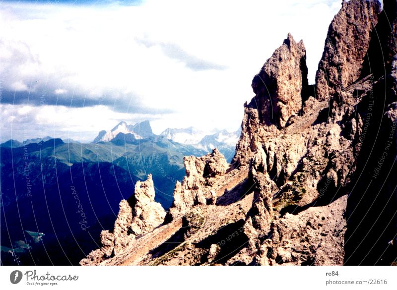 Blue Clouds Mountain Gray Stone Rock Alps Steep Dolomites