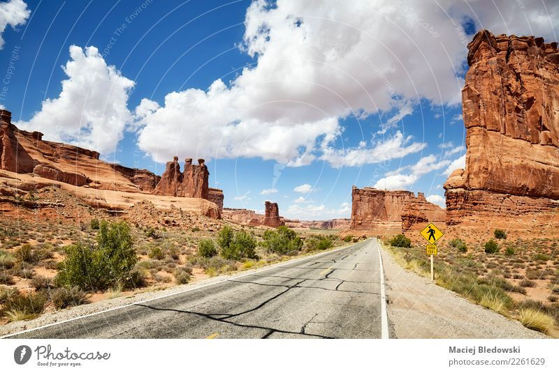 Scenic road in Arches National Park in Utah, USA. Nature Vacation & Travel Summer Beautiful Landscape Sun Mountain Street Tourism Freedom Rock Trip Adventure