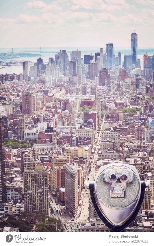 Tourist binoculars pointing at Manhattan skyline, New York. Vacation & Travel Tourism Freedom Sightseeing City trip Office Town Downtown Pedestrian precinct