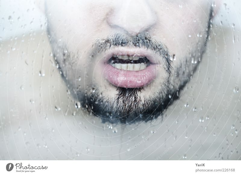 Human being Man Blue Water Adults Face Hair and hairstyles Bright Mouth Fog Skin Wet Masculine Nose Drops of water