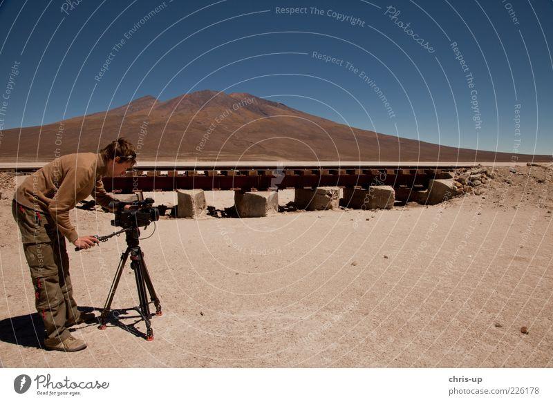 Cameraman in Desert Tourism Trip Safari Expedition Mountain Camera-man Filming Video camera Human being Masculine Man Adults 1 Environment Nature Landscape