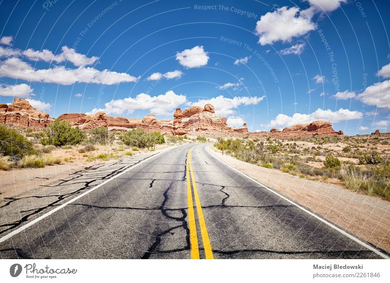 Scenic road, Arches National Park, Utah, USA. Sky Nature Vacation & Travel Blue Summer Beautiful Landscape Street Lanes & trails Freedom Trip Adventure