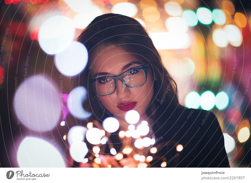 Beauty girl with glasses with little lights in her hands Style Beautiful Face Make-up Woman Adults Hand Fashion Accessory Happiness Modern Magic Lady