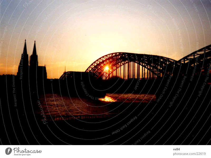 Sky Sun Colour Bridge Vantage point Cologne Dome Rhine