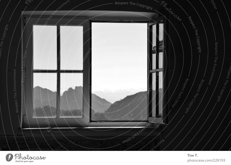 Nature Loneliness Far-off places Forest Window Mountain Environment Landscape Germany Open Europe Alps View from a window Window frame