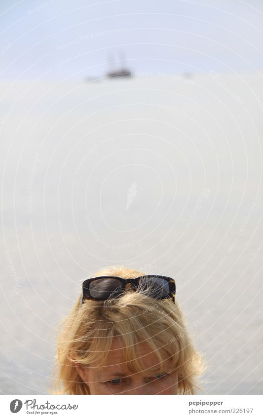 wander far and wide Far-off places Summer Ocean Feminine Woman Adults Head Face Horizon Coast Yacht Sunglasses Blonde Relaxation Colour photo Exterior shot