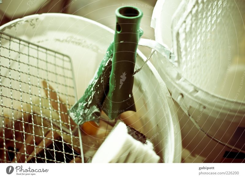 Green White Colour Work and employment Construction site Painting (action, work) Profession Tool Grating Paintbrush Redecorate Workplace Bucket Shaft of light Paint bucket Soak