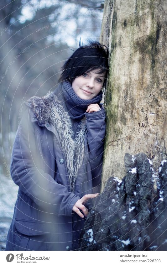 Woman Human being Nature Youth (Young adults) Beautiful Tree Winter Forest Cold Feminine Snow Adults Ice Clothing Frost