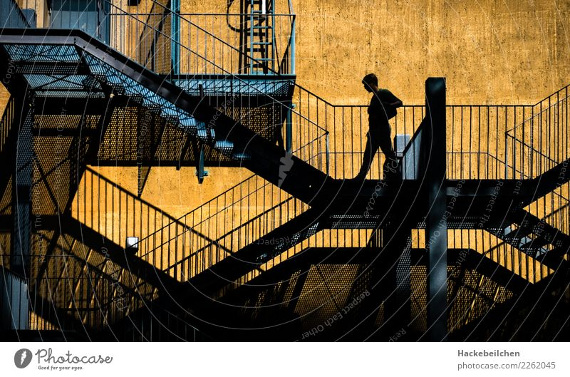 up and down Industrial plant Factory Manmade structures Stairs Facade Going Walking Town Blue Yellow Colour photo Multicoloured Exterior shot