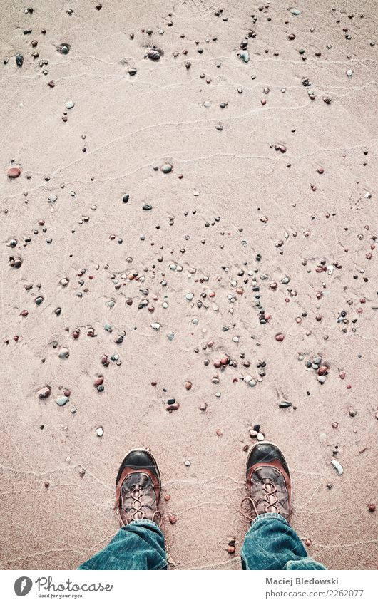 Person in hiking shoes stands on a beach, seen from above. Human being Nature Vacation & Travel Ocean Beach Lifestyle Freedom Feet Sand Above Copy Space Trip