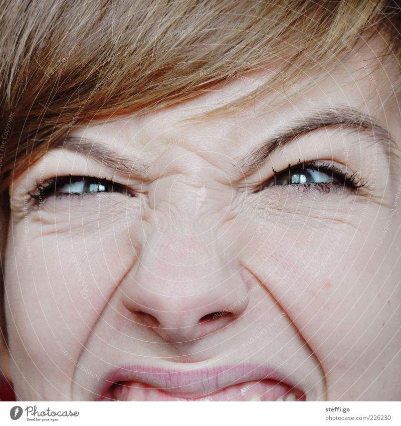 Woman Youth (Young adults) Face Adults Eyes Funny Blonde Nose 18 - 30 years Uniqueness Wrinkle Young woman Creepy Anger Stress Facial expression