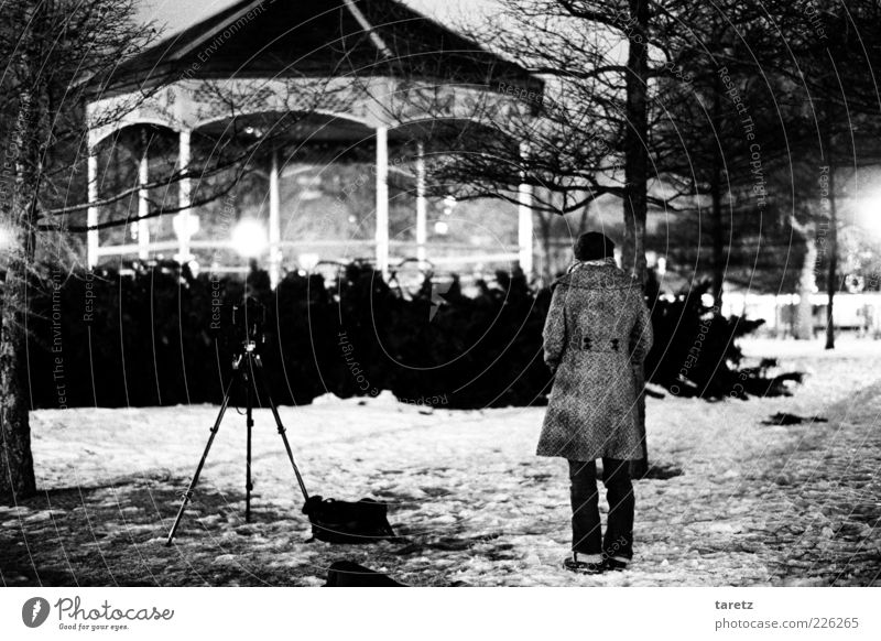 gazebo at night Elegant Style Woman Adults 1 Human being 18 - 30 years Youth (Young adults) Winter Snow Park Montreal Pavilion Esthetic Photography Photographer