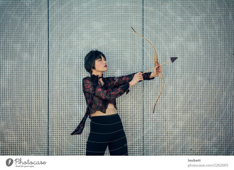The archer Lifestyle Shopping Style Design Happy Save Playing Hunting Flirt Young woman Youth (Young adults) Bow Arrow Fight Make Throw Self-confident Power