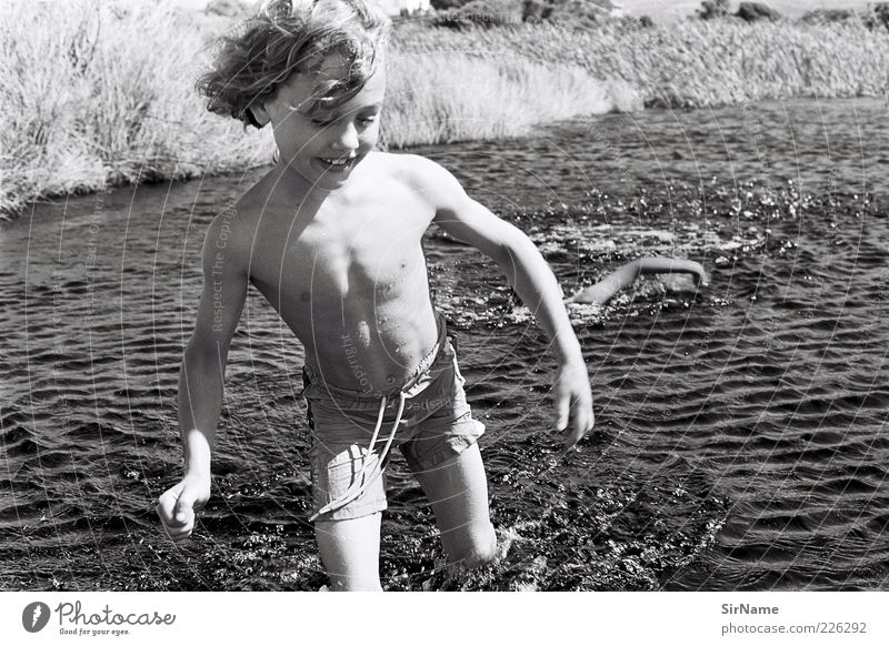 Human being Child Ocean Life Laughter Playing Boy (child) Happy Swimming & Bathing Natural Together Infancy Waves Walking Smiling Free