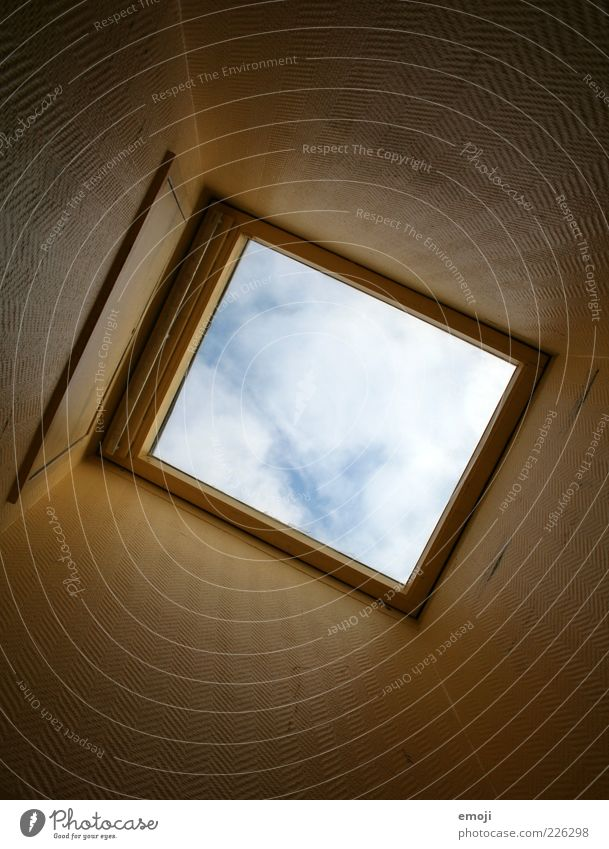 Beam me up, Scotty Sky Clouds Above Perspective Window Skylight Hollow Rectangle Colour photo Interior shot Copy Space middle Worm's-eye view