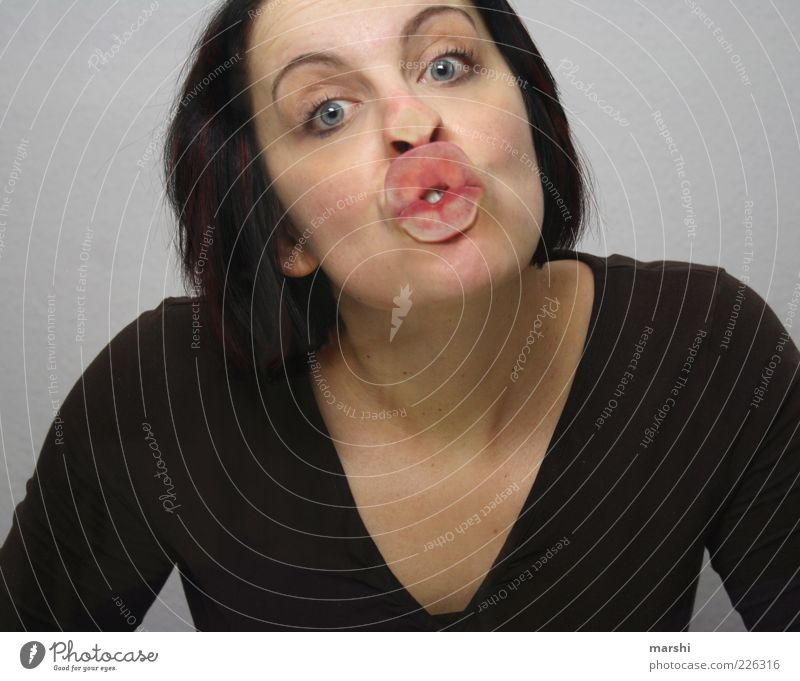 Woman Human being Joy Adults Face Feminine Emotions Head Style Funny Mouth Lips Kissing Damp Infatuation Effort