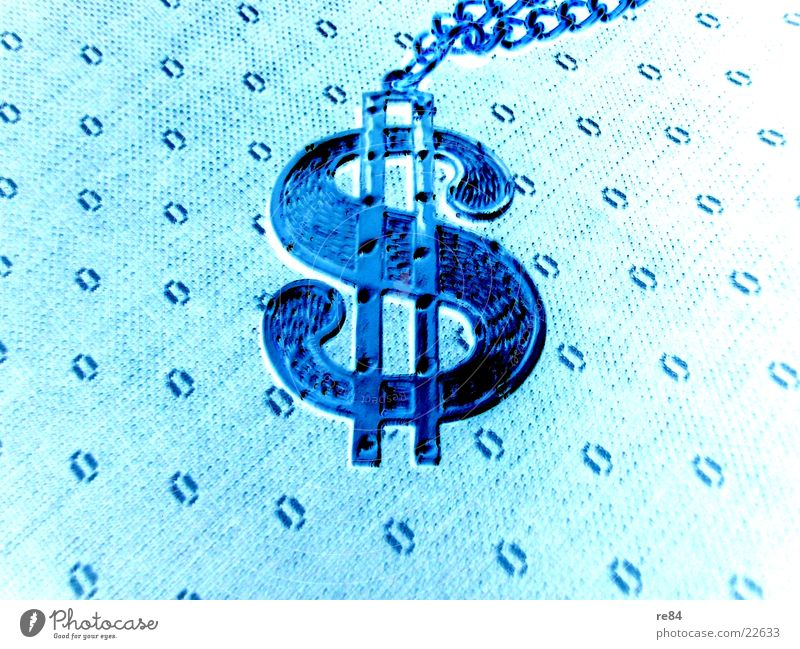 Blue Bright Glass Money Gold USA Sign Jewellery Americas Turquoise Symbols and metaphors Chain Opposite US Dollar