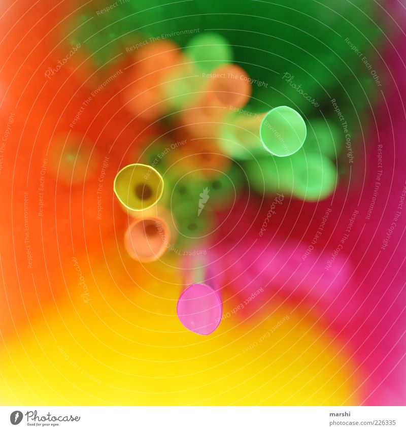 Green Yellow Pink Crazy Perspective Blade of grass Pipe Gaudy Flashy Straw Colour Multicoloured