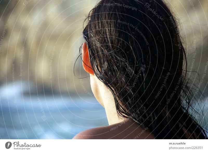 Human being Youth (Young adults) Summer Vacation & Travel Ocean Feminine Head Hair and hairstyles Coast Adults Skin Wet Ear Beautiful weather Sunbathing Shoulder
