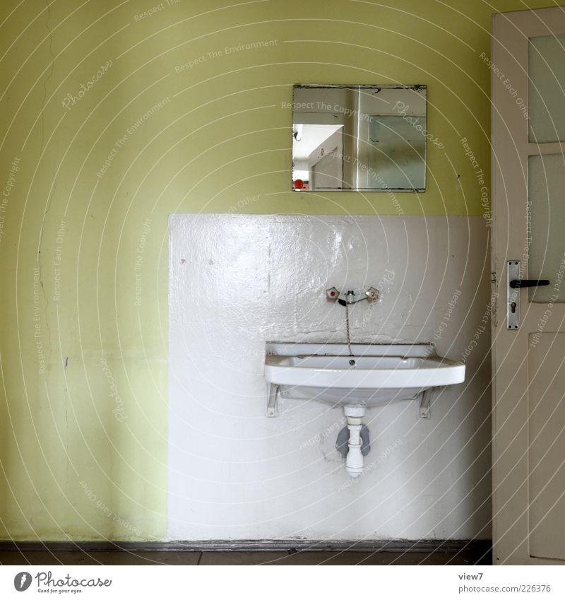Old Green Loneliness Colour Cold Wall (building) Door Room Concrete Arrangement Interior design Authentic Retro Bathroom Transience Mirror