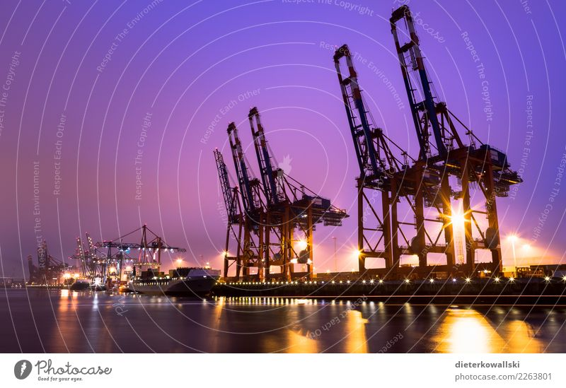 harbor Environment Climate change Transport Traffic infrastructure Navigation Container ship Harbour Logistics Hamburg Port of Hamburg Trade Container terminal