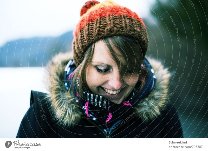Human being Woman Youth (Young adults) Beautiful Joy Calm Face Adults Relaxation Life Feminine Cold Head Hair and hairstyles Laughter Style