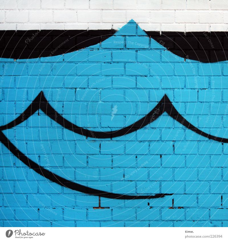 Here Comes The Flood Waves Art Painting and drawing (object) Wall (barrier) Wall (building) Brick Round Blue Black White Colour Seam Mortar Swell Curve Dye