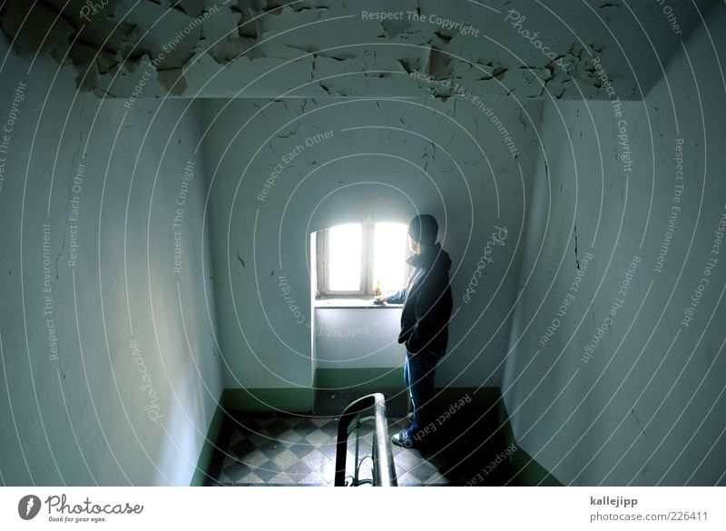 Windows XP Human being Masculine Man Adults 1 Stairs Looking Stand Staircase (Hallway) Handrail Bottle of beer Future Broken Flake off Sadness Colour photo