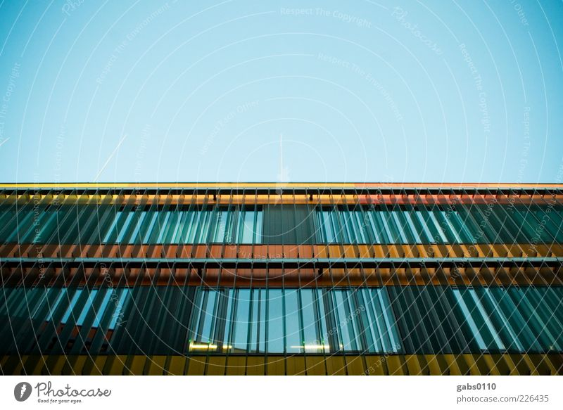 Sky Blue House (Residential Structure) Black Yellow Window Architecture Building Orange Glass Facade Modern New Exceptional Manmade structures