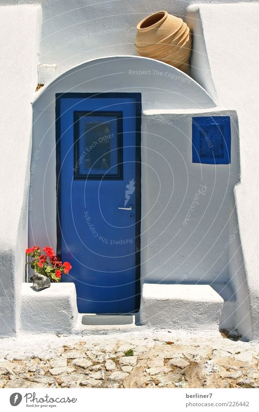 Blue - white , the colours Santorini Calm Vacation & Travel Tourism Summer Summer vacation House (Residential Structure) Decoration Greece Europe Deserted
