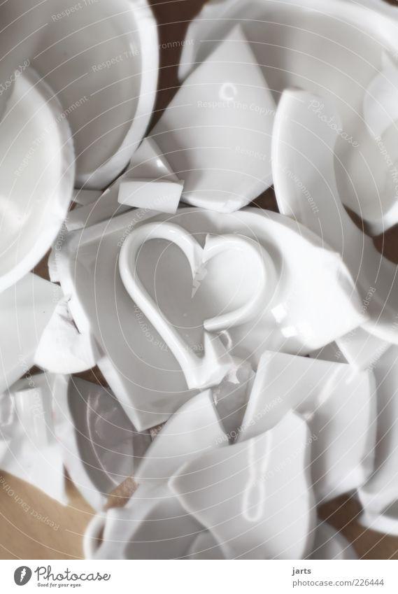 Broken Heart Porcelain Crockery Shard Love Cup Lovesickness Interior shot Deserted White Heap Structures and shapes