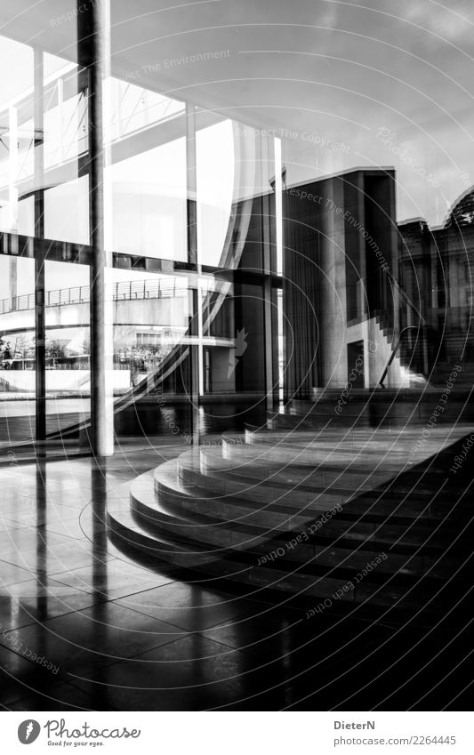 Glass and concrete II Berlin Downtown Deserted Manmade structures Building Architecture Wall (barrier) Wall (building) Stairs Facade Tourist Attraction Landmark