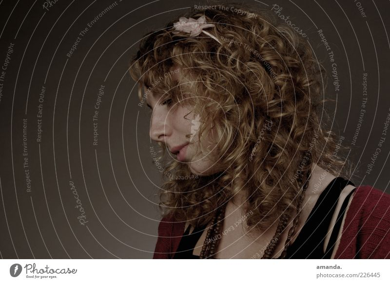 Space dream. Feminine Young woman Youth (Young adults) Woman Adults 1 Human being 18 - 30 years Hair circlet Blonde Curl Think Dream Sadness Beautiful Gloomy