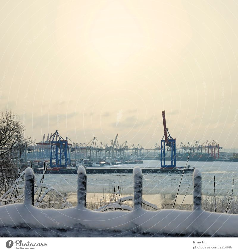 Port of Hamburg in Winter II Industry River bank Town Port City Harbour Navigation Inland navigation Cold Crane Colour photo Exterior shot Deserted