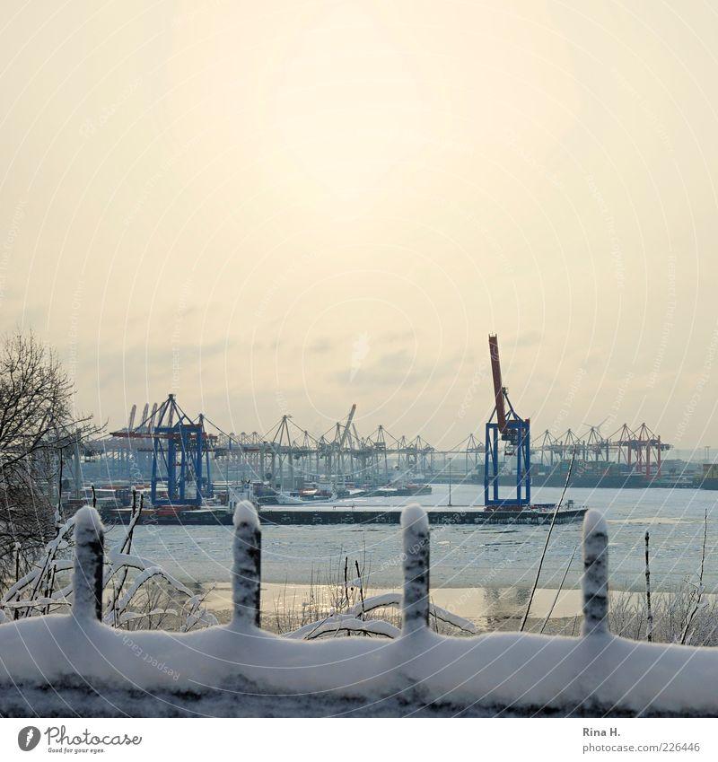 Port of Hamburg in Winter II Industry River bank Town Port City Harbour Navigation Inland navigation Cold Crane Colour photo Exterior shot Deserted