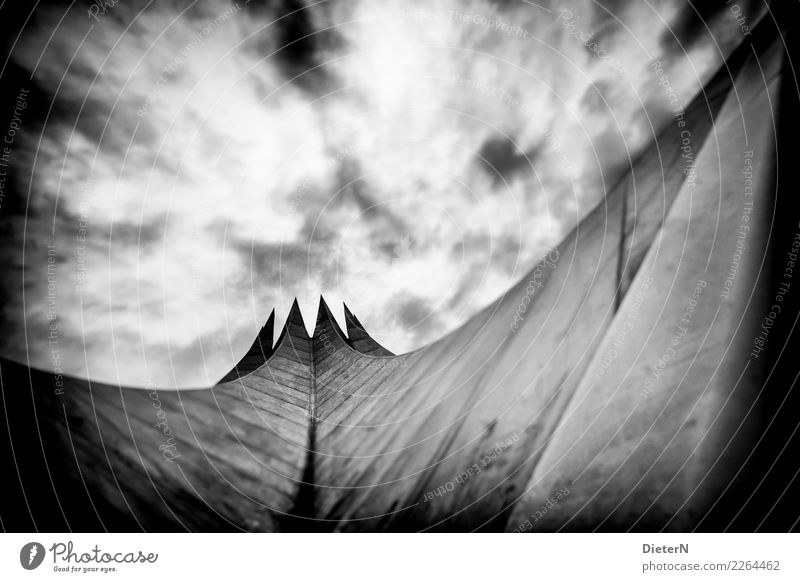 tempodromic Clouds Berlin Deserted Manmade structures Building Architecture Roof Landmark Gray Black White Vignetting Tempodrom Black & white photo