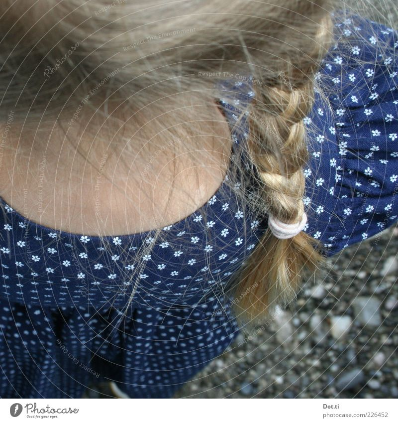 blonde girl with braided braid and dirndl Style Hair and hairstyles Human being Feminine Girl Infancy Back 1 Clothing Dress Blonde Braids Blue Romance Tradition