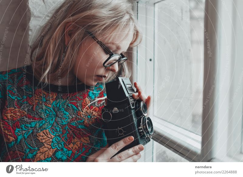 retro camera Youth (Young adults) Young woman Window 18 - 30 years Adults Lifestyle Natural Art Leisure and hobbies Retro Blonde Technology Cute Eyeglasses