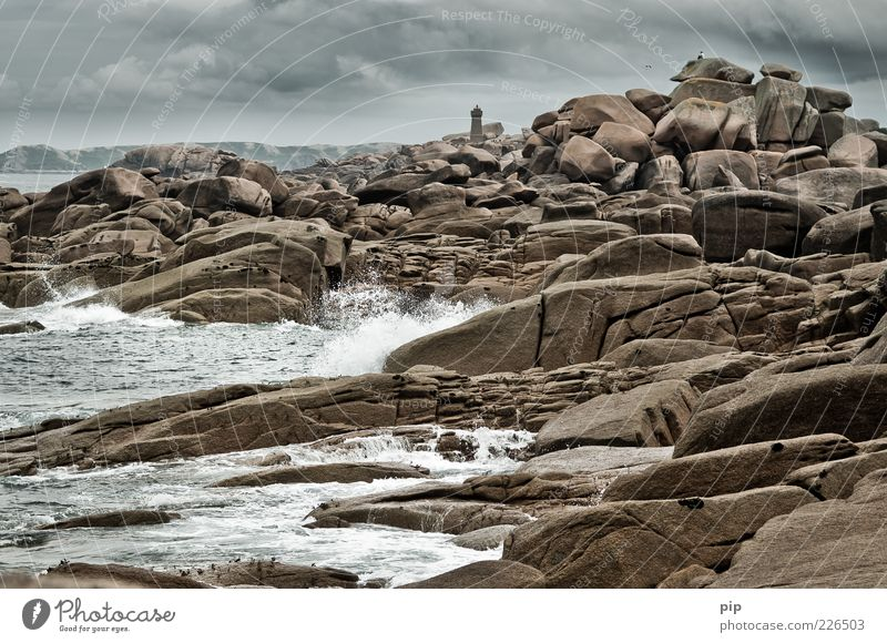 Human being Man Nature Water Ocean Clouds Far-off places Above Stone Coast Adults Waves Sit Rock Climate Perspective