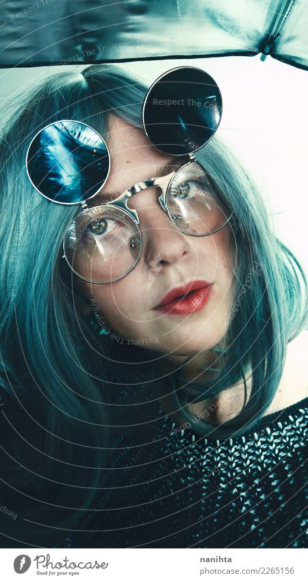 Young weird woman wearing retro glasses Style Design Beautiful Hair and hairstyles Skin Face Make-up Human being Feminine Young woman Youth (Young adults) 1
