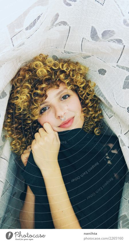 Lovely young woman with curly blonde hair Lifestyle Style Joy Beautiful Hair and hairstyles Face Wellness Well-being Human being Feminine Young woman