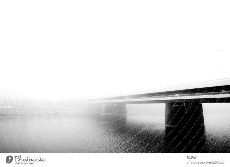 Architecture Metal Art Fog Bridge Manmade structures Capital city Haze Black & white photo Body of water Outskirts Culture