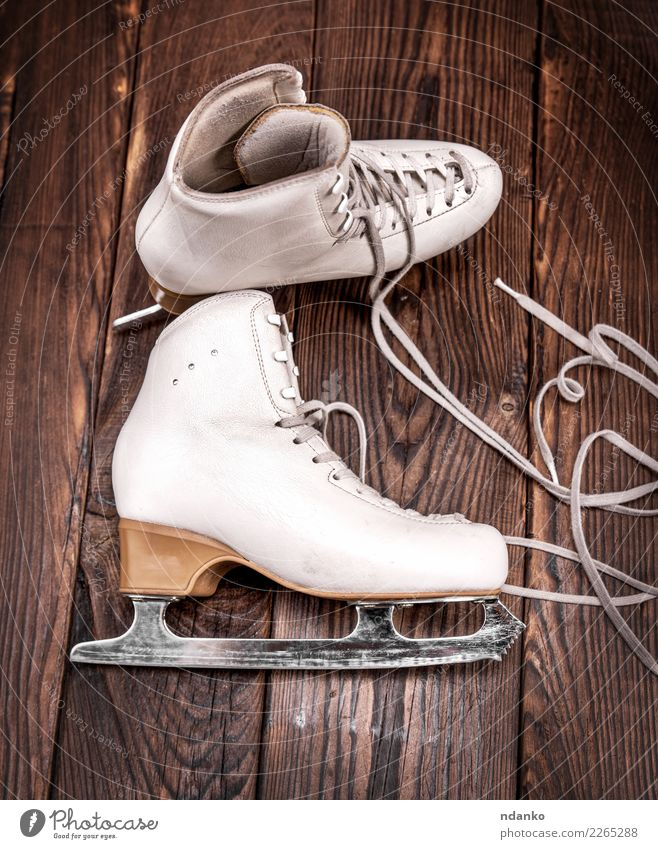 leather skates for figure skating Winter Sports Winter sports Leather Footwear Wood Old Above Retro Brown White Leisure and hobbies Antique background blade