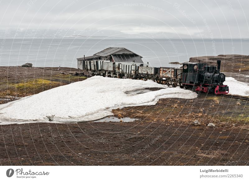 Old industrial train and hut in Ny Alesund, Svalbard islands Vacation & Travel Trip Summer Ocean Island Snow Mountain House (Residential Structure) Nature