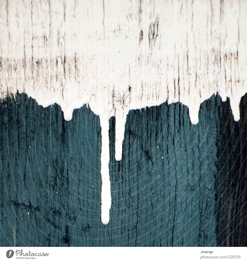 taper ice Style Design Wall (barrier) Wall (building) Wood Sign Dirty Fluid Blue White Colour Transience Patch of colour Painting (action, work) Dripping