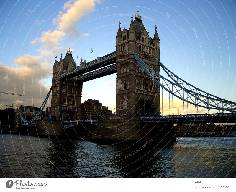 Sky White City Blue Vacation & Travel Clouds Gray Stone Watercraft Rope Trip Bridge River Past London England