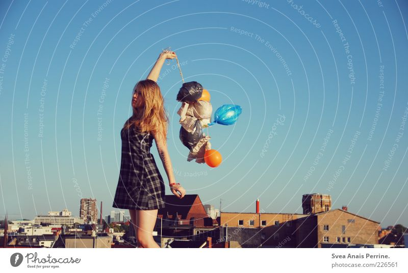 Human being Youth (Young adults) Beautiful City House (Residential Structure) Feminine Emotions Adults Blonde Natural Stand Cool (slang) Balloon Exceptional Dress Thin