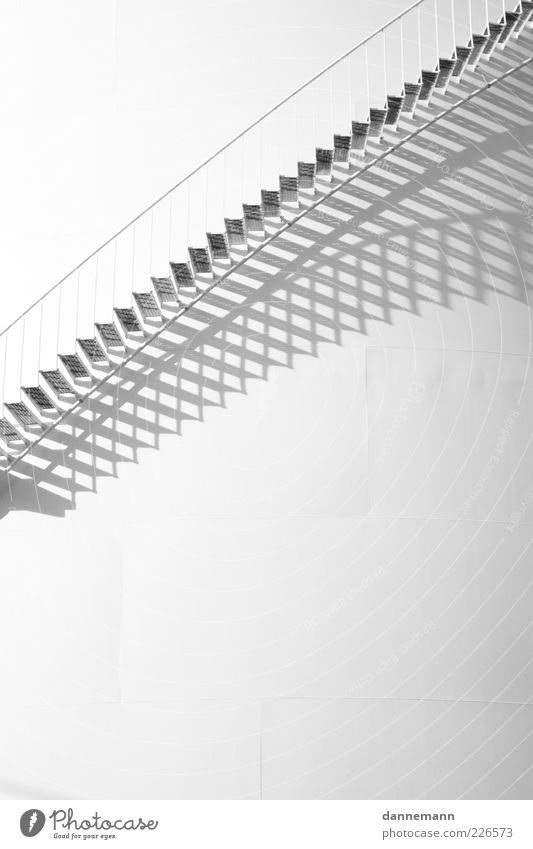 White Wall (building) Architecture Wall (barrier) Building Bright Facade Stairs Free Esthetic Factory Manmade structures Banister Black & white photo Light