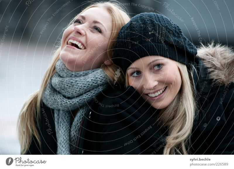 Human being Youth (Young adults) Beautiful Joy Winter Life Feminine Emotions Happy Laughter Friendship Funny Together Blonde Happiness Woman